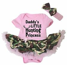 Daddy Hunting Little Princess Light Pink Bodysuit Camouflage Baby Dress NB-18M
