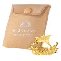 Zolotas 18 Karat Handmade Gold Ancient Greek Warship Oar Boat Brooch Pin