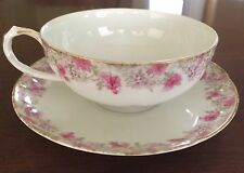 Chas Field Haviland Limoges CHF 688 Pink Roses Teacup & Saucer