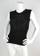 Jil Sander Sz S Black Open Knit Sleeveless Top Ribbed Trim Viscose Blend EUC