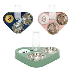 Double Water and Food Bowl Set Pet Water Dispenser Bottle Feeder Bowl
