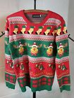Ladies Ugly Christmas Sweater Reindeer Stockings Gift Sleigh FancyQube XL