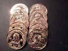 """New listing Copper 1 Oz Round- Lot Of 10- """"$5.00 Indian Chief Silver Certificate Design"""