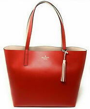 NWT Kate Spade Lakeland Marina Reversible Red / Beige Leather Tote WKRU5342 $299