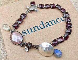 "NEW $148 Sundance 7-1/2"" Red Garnet Labradorite Leather Sterling Silver Bracelet"