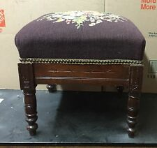 Beautiful Victorian walnut needlepoint footstool