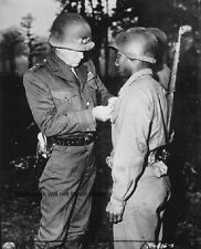 "Lt. General George S. Patton pins medal to U.S. Soldier 8""x 10"" WW2 Photo 395"
