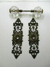 SOLID BRONZE ORNATE DOORKNOB ESCUTCHEONS BACKPLATES/FACETED GLASS BALL KNOBS
