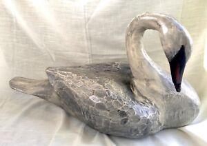 Vintage Hand Carved Cedar Wood, Black Swan Decoy - Eli B. Wesley 23 inches