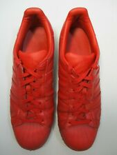 Adidas Superstar Men's Red Leather Lace Up Trainers UK Size 11