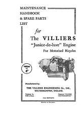 1938 Villiers JDL maintenance handbook & parts list