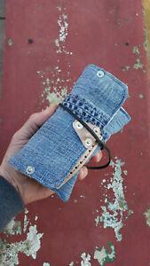 Portatabacco jeans riciclato artigianale porta cartine filtri accendino
