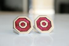 Cufflinks / Light Red Enamel Cufflinks / Rhodium Plated / Designer Cufflinks