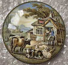More details for victorian coloured pratt ware pot lid 'the red bull inn' c.1870