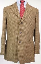 Mens Carolina Herrera 3 Button Cashmere Brown Houndstooth Sport Coat 40 Regular