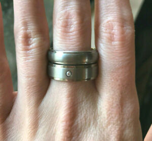 Men's Triton Titanium Wedding Engagement Band Ring w/ Diamond Size 10 Set of 2