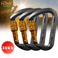 3PC 30KN D-Ring Aluminum Screw Hook Carabiner Rock Climbing Hiking Rescue Buckle