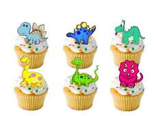 24 X Dinosaur Cartoon Stand UPS Fairy Cup Cake Toppers Edible Rice Wafer Paper