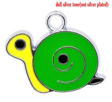 3 silver tone émail escargots ~ charmes / pendentif 16mm x 18mm bijoux ~ Toppers (6b)