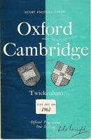 OXFORD UNIVERSITY v CAMBRIDGE UNIVERSITY 1962 RUGBY PROGRAMME