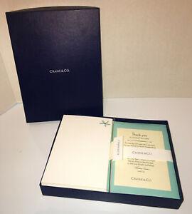 Vintage CRANE & CO 24 Note Cards & Envelopes Blue Flower Opened Box 100% Cotton