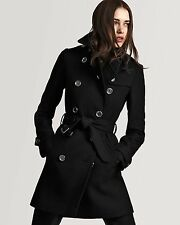 NWT - BURBERRY LONDON BALMORAL CASHMERE BLEND  BLACK TRENCH COAT SIZE US 10