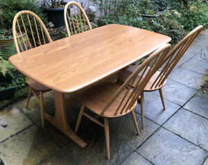 ERCOL FARMHOUSE  PLANK STYLE  DINING TABLE & 4 MINT QUAKER CHAIRS WE DELIVER