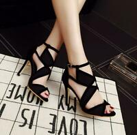 Women's Ladies Ankle Hollow Out High Heel Shoes Peep Toe Sandals Shoes Ths01