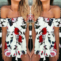 US Womens Holiday Mini Playsuit Floral Jumpsuit Summer Beach Romper Summer Dress