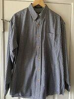 Orvis Mens Blue White Plaid Dress Button Down Front Shirt Size Large Long Sleeve