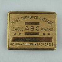 Vintage Bowling Belt Buckle - Most Improved Average - American Bowling Congress