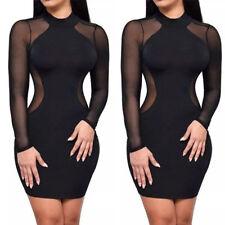 Women Sexy Bodycon Long Sleeve Lady Party Slim Club Wear Casual Short Mini Dress