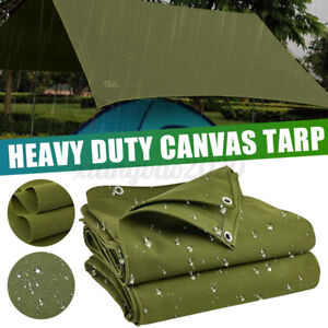 2X3m Green Canvas Heavy Duty Tarpaulin Cover Boat Log Store Roofing Sheet