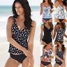Women Tankini Bikini Sets Padded Shorts V Neck Floral Print Swimsuit Swimwear