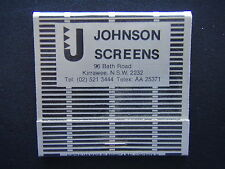 JOHNSON SCREENS 96 BATH RD KIRRAWEE 02 5213444 MATCHBOOK