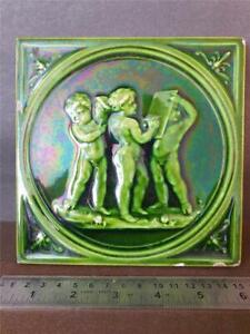 "Antique Green Majolica 6"" Tile - 3 Cherubs / Putti. Flat back maker unknown"