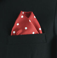 "Men's Pocket Square Birght Red Polka Dot 10"" Dress Suit Handkerchief Hanky New"