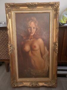 Leo Jansen 1960s Playboy Oil Painting