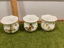 Nwob Lenox Butterfly Meadow Set Of 3 Candle Holders Votives