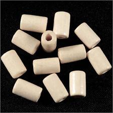 Lot de 50 Perles en Bois Tubes 6 x 10 mm Blanc