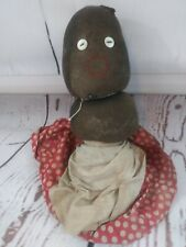 "Vintage Folk Art Black American Stockinette Cloth Rag Doll 12"" Original Clothes"