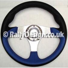 Volante 320mm Negro Y Azul Cuero-Plata radios Carrera Rally SVi-4119SBB