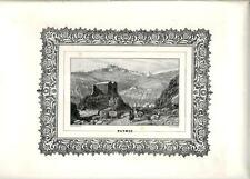 Stampa antica Veduta di PATMOS Dodecanneso Grecia 1860 Old antique print Greece