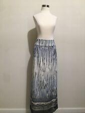 Chicos Blue White Printed Maxi Long Skirt Sz 1.5 (Sz 10)
