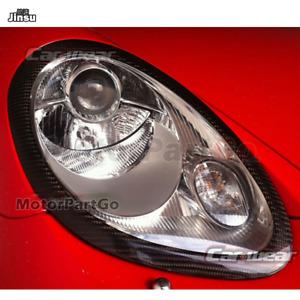 Carbon Fiber Eyebrow Eyelid Headlight Covers for Porsche 987 S Cayman Boxster 05