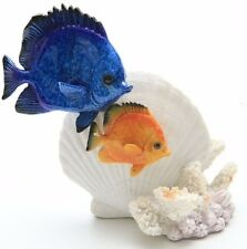 """5H"""" Glazed Tropical Fish with Shell Figurine Yx9938"""