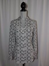 White House Black Market Blouse Geometric Shirt Tab Long Sleeves Career Work 8