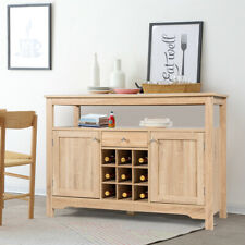Buffet Server Sideboard Wine Cabinet Console Table w/Adjustable Shelf Natural