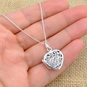 Filigree 925 Sterling Silver Heart Photo Locket Pendant Necklace