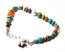 """Sterling Silver Bear Charm Bead Multi Rainbow Stone Wire Bracelet 8"""" 7mm"""